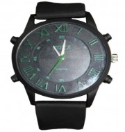 Soka Quartz Mens Dial Watches (Black & Green)