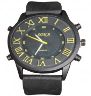 Soka Quartz Mens Dial Watches (Black & Yellow)