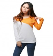 Women long sleeve T-shirt  - Gray & chrome yellow