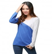 Women long sleeve T-shirt  - Blue & White