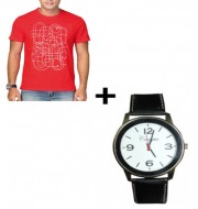 Combo offer (Canopus Mens T-Shirt (Red) +Canopus Men White Dial Watch)